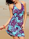 ștreangul rochie mini, spandex albastru de imprimare / plajă femei