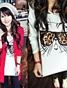 Femei Leopard Ochelari Cat mânecă lungă T-Shirts