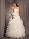 Prințesă Fără Bretele Lungime Podea Organza Tafta Rochie de mireasă cu Perle Aplică Flori Ridicat Niveluri de LAN TING BRIDE®