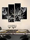 Toiles Tendues Art botanique givre feuilles Ensemble de 4
