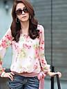 Femei gât Floral Print Bow maneca lunga șifon Bluza
