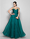 A-linje Illusion Neckline Gulvlang Chiffon Formel aften / Militærbal Kjole med Blonde Kryds & Tværs ved TS Couture®