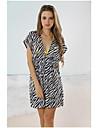 Pentru femei alb-negru zebră Classic profundă V Neck Beach Cover-up Mini Dress