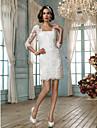 Tubinho Decote Quadrado Curto / Mini Renda Vestidos de noiva personalizados com Apliques de LAN TING BRIDE®