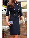 Femei Elegant Mock Neck Button Tweed Coat