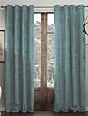 Stångficka Hyls-topp Hällor topp Dubbel veckad Två paneler Fönster Behandling Moderna Enfärgad Vardagsrum Polyester Material gardiner