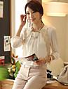 Duoyisi femei simplu Broderie Dantela șifon Shirt Casual (alb)