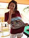 Liuliu femei de odihna gât desen animat de model de bumbac T-Shirt