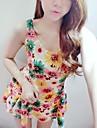 Femei sexy Fashion Flower Print dulce fără mâneci Rochie