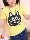 Pentru copii de vara de bumbac guler rotund Black Cat de imprimare Casual cu maneci scurte T-Shirt