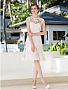 Linha A Tubinho Ilusao Decote Ate os Joelhos Renda Floral Vestidos de noiva personalizados com Apliques de LAN TING BRIDE®