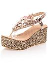 Pentru femei Pantofi Imitație de Piele Primăvară / Vară Platformă / Toc Platformă Cataramă Argintiu / Auriu / Tocuri de toc