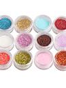 12 pcs Nail Smycken / Glitter & Poudre / Puder Abstrakt / Mode Dagligen Nail Art Design