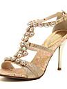 Damă Pantofi Imitație de Piele Primăvară Vară Toamnă T-Curea Toc Stilat Piatră Semiprețioasă Pentru Rochie Party & Seară Auriu