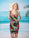 Femei Elegant profundă V colorat de imprimare Bare Înapoi Gallus Beach Dress