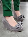 platforma de pompe de pană toc din piele intoarsa, cu pantofi de femei Bowknot lui (mai multe culori)