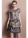 TS Print O Neck Short Sleeves Looser Woment\'s Organza Dress