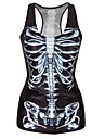 PinkQueen® Women's Spandex Black Body Bone Printed Vest