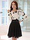 Women's Fashion Simple Embroidery Long Sleeve Above Knee Dress