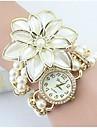 Pentru femei Simulat Diamant Ceas Ceas Brățară Ceas La Modă Quartz imitație de diamant Aliaj Bandă Floare Perlă Elegant Alb Auriu
