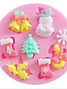 Snow Snowman Christmas Tree Baking Fondant Cake Choclate Candy Mold,L7cm*W7cm*H1.1cm