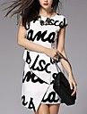 Women's European Style Letter Pattern Dress
