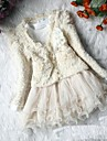Girl's Fashion Joker Lovely Lace Long Sleeve Princess Skirt Two Piece Clothing Sets