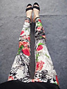 Women's Fashion Red Flower Pattern Leggings