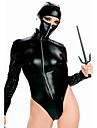 sexy faux piele costum negru ninja (1 buc)