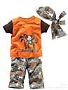 Boy's Round Cotton Cartoon Monkey Print Clothing set(hat+top+pant)