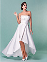 A-Line Strapless Asymmetrical Taffeta Custom Wedding Dresses with Draping Sash / Ribbon Ruched by LAN TING BRIDE®