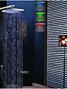 Nykyaikainen Seinäasennus Sadesuihku Mukana käsisuihku Termostaatti LED Messinkiventtiili Kaksi kahvaa neljä reikää Kromi , Suihkuhana