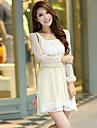 Femei coreeană Stil Polka Dots cu maneci scurte șifon Dress