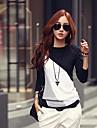 simplitate culoare de contrast casual, subțire t-shirt femei ts lui