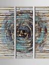 Ζωγραφισμένα στο χέρι Αφηρημένο Κάθετη Πανοραμική Καμβάς Hang-ζωγραφισμένα ελαιογραφία Αρχική Διακόσμηση Τρίπτυχα