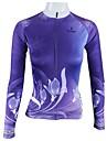 ILPALADINO Femme Manches Longues Maillot de Cyclisme - Violet Floral / Botanique Vélo Maillot, Séchage rapide, Respirable