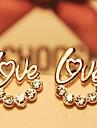 Dame Cercei Stud Iubire Ștras Placat Auriu Bijuterii Pentru Nuntă Petrecere Zilnic Casual