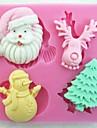 Crăciun Claus copac cerb om de zăpadă fondant tort unelte tort mucegai, instrument de coacere