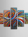 HANDMÅLAD Abstrakt vilken form som helst, Moderna Traditionell Hang målad oljemålning Hem-dekoration Fem paneler
