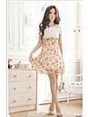 Women's Summer Floral Elastic Waist Flower Patchwork Short Sleeve Mini Dress