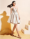 Haine Bal Mulată În V Lungime Genunchi Satin Venire Acasă / Bal Rochie cu Mărgele Detalii Perlă Buzunar de TS Couture®