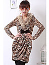 Damen Street Schick / Anspruchsvoll Baumwolle Huelle Kleid - Schleife / Geruescht, Leopard