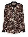 Femei Leopard Printed Button Casual jos șifon Shirt Bluza