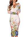 moda maneca lunga imprimeu floral rochie bodycon Monta femei