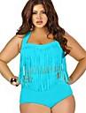 Dame Poliester Nailon Push-up Cu Susținere Bustieră,Bikini Talie Înaltă Solid Franjuri Solid