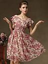Pentru femei Swing Rochie - Plisată, Floral