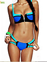 KissTies®Women's Hit the color Steel prop Metal zipper Bikini Swimsuit.