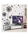 Wall Stickers Väggdekaler, stil botaniska fast stil maskros och fjäril pvc väggdekorationer