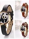 ceasuri de mana panda dial runda piele cuarț pentru femei (Color asortate)