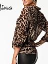 Femei Bluză Casul/Zilnic Simplu(ă),Leopard Manșon Lung Toate Sezoanele Subțire